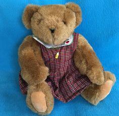 Vermont Teddy Bear School Teacher ABC Plaid Dress Jointed Limbs  #VermontTeddyBearCo #AllOccasion