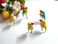 5 Pcs Miniature bird miniature dollhouse fairy garden by Namkhing
