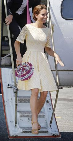 Mellow yellow: Kate arrived at the airport in Honiara to embark on the fina - London Evening Standard