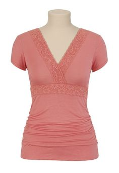 Lace Ruched Top - Maurices