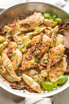 This flavorful Chicken with Sun-Dried Tomatoes and Artichokes is a one-skillet, 30-minute dinner you'll love, with an irresistible silky cream sauce. Easy Family Meals, Easy Meals, Family Recipes, Chicken Flavors, Chicken Recipes, Lemon Thyme Chicken, Easy Skillet Meals, Artichoke Chicken, Chicken With Olives