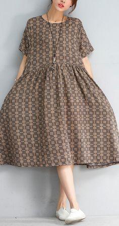 New multi color plaid linen dresses Fine short sleeve o neck cotton dress