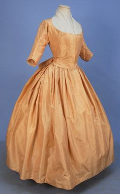 Inspiration (links to a site with very detailed images) STRIPED SATIN GOWN, 1770's.