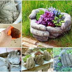 Over 20 of the BEST Garden Ideas & DIY Yard Projects - everything from yard art, planters, garden stones, green houses, & more! Hand Planters, Tire Planters, Garden Planters, Planter Pots, Garden Crafts, Garden Projects, Yard Art Crafts, Diy Projects, Diy Crafts