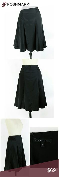 "Theory black a-line midi skirt Size 8. Theory black a-line midi skirt. Side seam pockets. Lined. Back zip. 48% acetate 45% polyamide 7% elastic. Gently used with no flaws. Approximate measurements Waist 29"" Hips 39"" Length 24.5"".  Hits approx below knee to midi length. Theory Skirts A-Line or Full"