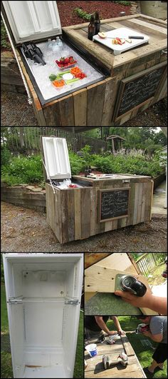 An Ice Box Lined with Driftwood Patio Diy, Diy Outdoor Bar, Outdoor Kitchen Bars, Outdoor Kitchens, Diy Yard Furniture, Cafe Furniture, Furniture Ideas, Outdoor Furniture, Wooden Furniture