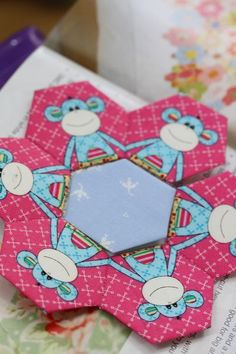 fussy cut hexies -- no link to help here but these little monkeys are stinkin' cute!  :)