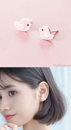 Animal Earrings, Cute Earrings, Silver Earrings, Pearl Earrings, Earring Studs, Pink Bird, Cute Pink, Sweet, Animals