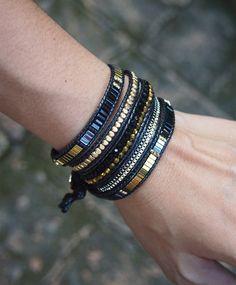 5 times Wrap Bracelet, Black Crystal beaded mix, Boho bracelet, Bohemian bracelet, Beadwork bracelet