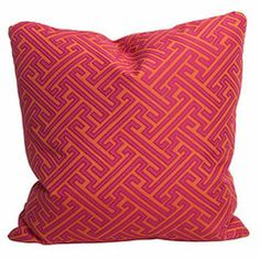 DESIGNER TIP Pillows are a fun and affordable way to freshen up a space without breaking the bank! When you play around with color, pattern and size you'll be amazed at how quickly you can transform a space. Orange Interior, Fabrics, Design Inspiration, Throw Pillows, Interiors, Interior Design, Pattern, Room, Pink