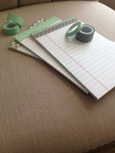 DIY Wasabi notebook. (This would be cute to so for baby or wedding shower games, instead of ugly scrap paper!)