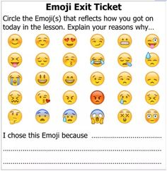 "Most pupils love emojis – that's obvious! There was a recent debate online about using emojis in the classroom. I can understand how using emojis can be viewed as a ""gimmick""… Teacher Hacks, Teacher Tools, Teacher Resources, School Classroom, Classroom Activities, Classroom Organization, Classroom Management, Future Classroom, High School Activities"