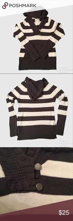 Guess Striped Hooded Sweater Like new! Cotton striped sweater with hood, banded cuffs and bottom hem, button detail at neckline and a kangaroo pocket. Guess Sweaters