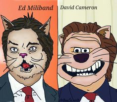 Ed Miliband and David Cameron by Anthony Pego