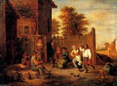 'Merrymaking Outside an Inn' by David The Younger Teniers (1610-1690, Belgium)