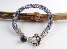 Viking Weave Bead Bracelet - Grey Gunmetal Viking Knit Jewelry - Woven Norse Bracelet - Knitted Bracelet - Woven Wire Jewelry - gift for her