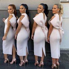 2019 New Bridesmaid Dresses Ankle Length Halter Neck Wedding Guest Maid Of Honor Dress Vestidos De Noiva Sexy Evening Dress, Evening Dresses, Dress With Bow, The Dress, Women's Fashion Dresses, Sexy Dresses, Fashion Wear, Cheap Dresses, Fashion Clothes