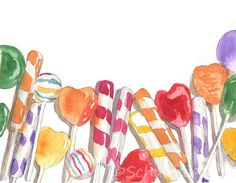 This original #watercolor pictures #candy art! Pictures of candy #art make a colorful art for the kitchen or for children's wall art. Colorful #paintings like this candy still life painting also makes a bright addition to your kitchen decor.