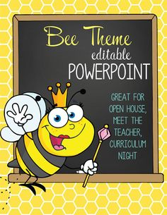 BEE Theme Classroom Decor / PowerPoint / 21 editable slides / Invite / Scavenger Hunt / Party Sign Up Sheet / Great resource for Open House, Curriculum Night, Meet the Teacher / Artrageous Fun