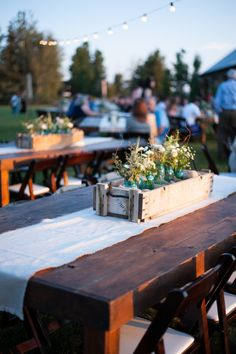 Outdoor tables and centerpieces