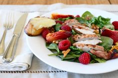 Raspberry Chicken Salad with Grilled Peaches ... need to do try that before the raspberry season is over!