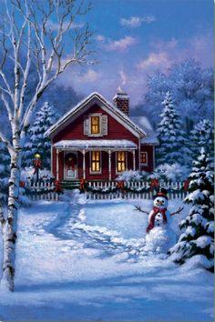 Christmas house, snowman