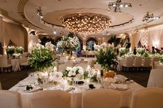 Wedding reception Beverly Hills Hotel with indoor garden motif theme greenery white flowers