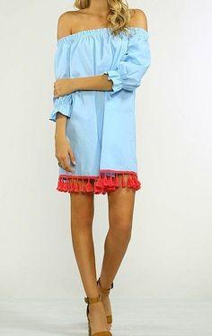 Pom Pom trim Off shoulder Dress