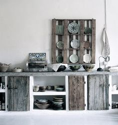 Reclaimed wood kitchen by Baileys Home and Garden Diy Kitchen, Kitchen Design, Kitchen Storage, Wooden Kitchen, Vintage Kitchen, Kitchen Decor, Recycled House, Recycled Kitchen, Reclaimed Wood Kitchen
