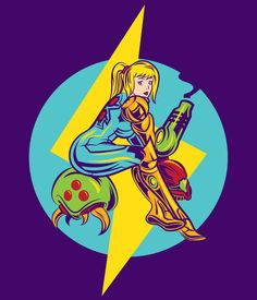 Hi everyone here's my samus/metroid pin up style design that maybe you saw on some of my side art just click and you can buy it on my redbubble account or just see how it looks in diferente color shirts :D