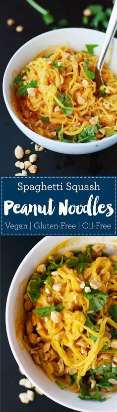 Spaghetti Squash Peanut Noodles | Vegan | Plant-based | WFPB | Gluten-free | Oil-Free | Recipe | http://www.eatwithinyourmeans.com/ via @eatwithinmeans