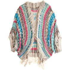 Calypso St. Barth Javiera Crochet Cardigan (€715) ❤ liked on Polyvore featuring tops, cardigans, outerwear, sweaters, jackets, oversized cardigan, multi color cardigan, long fringe cardigan, long tops and crochet cardigan