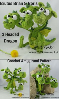 Brutus, Brian & Boris the 3 Headed Dragon is a sweet and not too fierce crocheted amigurumi doll that loves to explore. You won't find them burning things down because fire just isn't their thing. You can create your own 3 Headed Dragon with this downloadable pattern. #crochet #amigurumi #crochetdoll #ad #amigurumidoll #amigurumipattern #dragon #3headeddragon #instantdownload