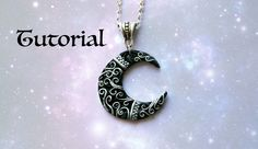 Ornate Crescent Moon DIY Pendant | Polymer Clay Jewelry. Jewellery Tutorial