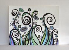 Blue, Green and Purple Swirls OOAK Original Ink Pen Drawing