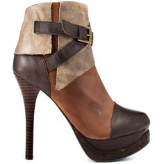 Feel your heart race in the Pulse by 2 Lips. A brown multi leather upper brings you a patchwork look and decorative buckle. A stacked 5 inch heel and 1 1/2 inch platform completes this blushing ankle boot.