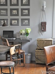 "Farrow & Ball ""Lamp Room Gray"" in a room by Giannetti Home. Gray Interior, Home Interior, Interior Decorating, Decorating Ideas, Modern Interior, Farrow And Ball Lamp Room Grey, My Living Room, Living Spaces, Work Spaces"