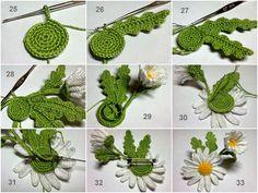 TRICO y CROCHET-madona-mía: Margaritas a crochet paso a paso en fotografía (broche)