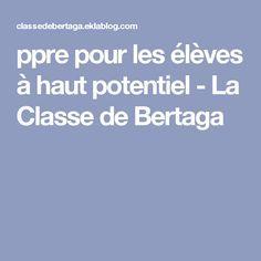 ppre pour les élèves à haut potentiel - La Classe de Bertaga