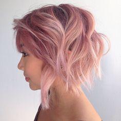 pastel+pink+messy+bob
