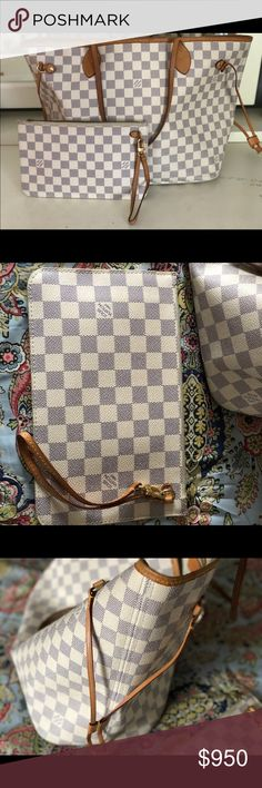 Louis Vuitton neverfull mm azur Great used condition. Vachetta shows the normal patina for a pre-loved bag but not cracking staining or peeling whatsoever. Interior would need to be dusted out. Literally what pics show is just dust and lint collecting but could easily be cleaned up. No staining inside just linty. Comes with coordinating pouch. I purchased this myself at the Copley Boston store. I have too many bags and am purging. No smells. Smoke free home. Louis Vuitton Bags Shoulder Bags