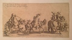 """12.5 x 24 cm ca, beautiful copy on laid paper with large watermark, in good condition, with a restored tear at the bottom from the centre to the right, that does not affect the full legibility of the work. The engraving is part of the famous series of four dedicated to the world of Gypsies """"Les bohemiens"""" made by Jacques Callot in early 17th century. Top left """"Ne vont pas de braves messengers//voilà Here errant for pays estrangers"""" Bottom right """""""" a ..."""