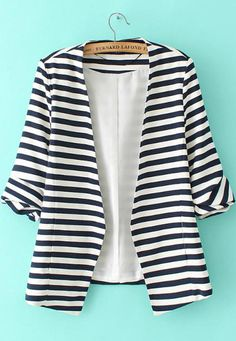 Shop Navy White Striped Long Sleeve Fitted Blazer online. SheIn offers Navy White Striped Long Sleeve Fitted Blazer & more to fit your fashionable needs.