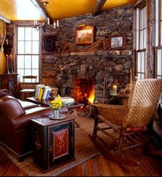 The cabin whose fireplace is LIT, and waiting for you to bask in its glow.