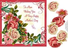 Roses For Mother s Day on Craftsuprint designed by Frances Dent - This design with an ornate framed background, assorted roses, ribbons, and a butterfly comes with one topper/card front with a sentiment and three decoupage pieces. Thank you for looking at my design and to view my other designs please click on my name. Enjoy. - Now available for download!