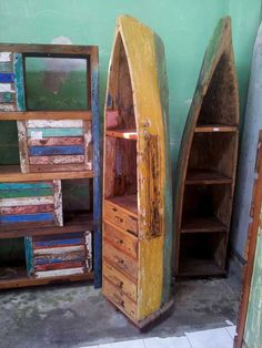 Recycled teak wood fishing boat cabinet from Bali