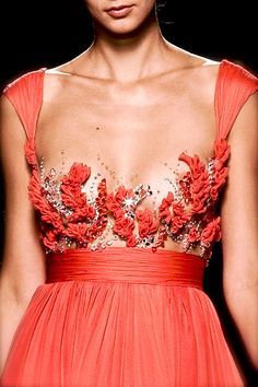 Tony Ward, model, runway, haute couture, couture, fashion, high fashion, Rome Fashion Week, fashion week, chiffon, tulle, ruffles, corset, sequins, crystals, gemstones, beading, sparkles, roses, pleats, ball gown, details, embroidery, couturier, princess, fairy tale, Fall 2009, #women #fashion #couture #highfashion #style