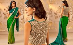Saree with beautiful pearls and stones, scalloped border and jewelled-back blouse by Satya Paul