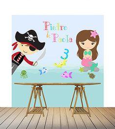 Painel/backdrop para mesa do bolo ou fotos - tema pirata e sereia