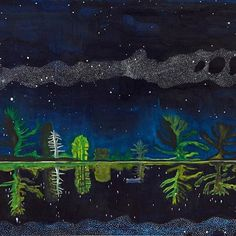 """Season's Greetings. A poem by Derek Walcott, inspired by this painting by Peter Doig: ⠀⠀⠀⠀⠀⠀⠀⠀⠀⠀⠀⠀ ⠀⠀⠀⠀⠀⠀⠀⠀⠀⠀⠀⠀ ⠀⠀⠀⠀⠀⠀⠀⠀⠀⠀⠀⠀  A tenor pan repeating its high note,  flowers of brass cornets, maracas stars,  an alto sax's interrupting throat,  a burst of rain from drizzling guitars. ⠀⠀⠀⠀⠀⠀⠀⠀⠀⠀⠀⠀ ⠀⠀⠀⠀⠀⠀⠀⠀⠀⠀⠀⠀ ⠀⠀⠀⠀ Image credit: Peter Doig, """"Milky Way"""", 1989 - 1990 Oil on canvas, 60 x 80 inches, 152 x 204 cm DOI 187/00"""